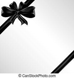 Vector funeral card with black ribbon, place for text