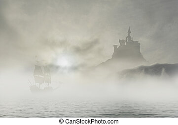 castle in clouds 3 with ship
