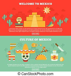 Mexican Banners Set - Mexican horizontal banners set with...