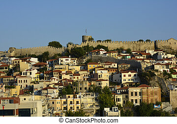 Greece, Kavala with fortress and homes