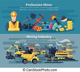 Mining Banner Set - Mining banner horizontal set with...