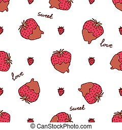 Seamless pattern with doodle heart shaped chocolate covered strawberries