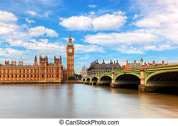 Big Ben, Westminster Bridge on River Thames in London,...