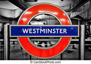 London underground sign of Westminster station - LONDON -...