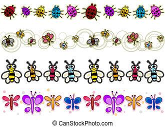 Insect Borders - Insect Border Set with Clipping Path