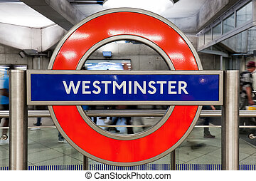 London underground sign of Westminster station
