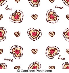 Seamless pattern with doodle heart shaped cookies