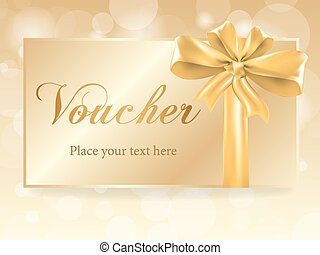 Luxury gold gift bow on voucher card, vector