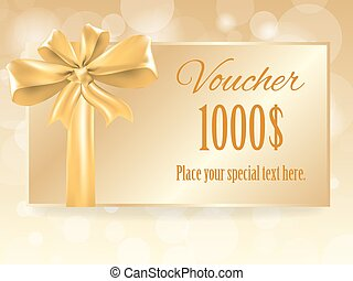 Gold gift bow on voucher card, vector