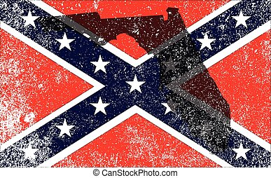 Rebel Civil War Flag With Florida Map - The flag of the...