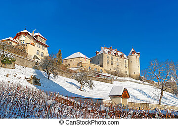 View of the Gruyeres castle on a sunny winter day - View of...