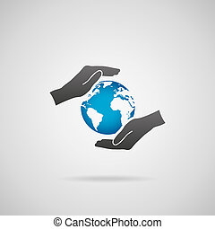 Protect planet Earth concept Vector icon of hands in...