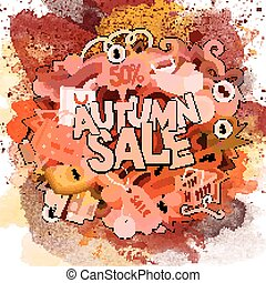 Autumn sale hand lettering and doodles elements and symbols...