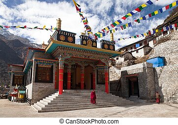 Thamo gompa or buddhist monastery with monks - THAMO, NEPAL,...