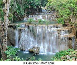 Tropical rainforest waterfall - Huay Mae Khamin Waterfall,...