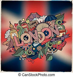 London hand lettering and doodles elements background. -...