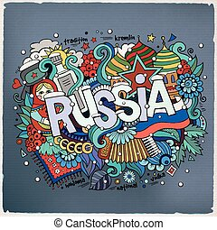 Winter Russia hand lettering and doodles elements background...