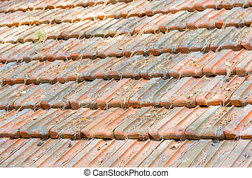 Old roof made of roof tiles - Fragment of old roof made of...