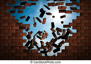 Brick wall falling down making a hole to sunny sky outside...