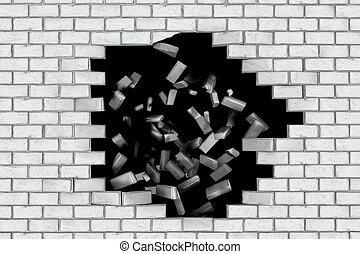 White brick wall falling down making a hole. Black...