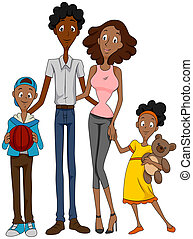 African American Family with Clipping Path