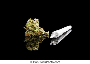 Marijuana background Cannabis cigarette joint, bud and hemp...