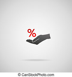 Discount and sale concept represented by percentage sign...