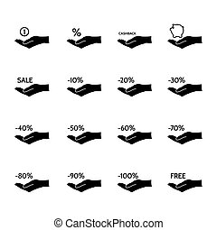 Financial and sale icons - Financial, discount, commission...