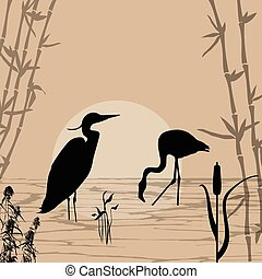 Heron and flamingo silhouettes on river at beautiful place,...
