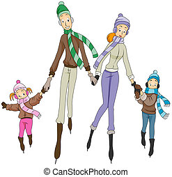Ice Skating Family with Clipping Path