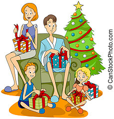 Christmas Presents - Family opening Christmas Presents with...