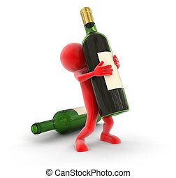 Man and bottle Image with clipping path
