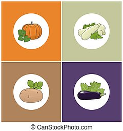Set of Four Icons of Vegetables, Icon of a Ripe Orange...