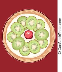 kiwi tart - a vector illustration in eps 10 format of a...