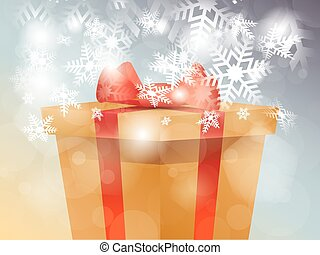 Christmas surprise gift box with snowflakes, vector