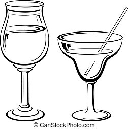 Glass with Drinks, Pictograms - Glass Goblets with Drinks...