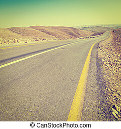 Asphalt Road - Meandering Road in Sand Hills of Judean...