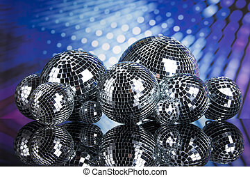 Disco Balls, sound waves and Music background - Sound waves...