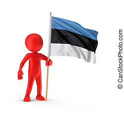 Man and Estonian flag Image with clipping path