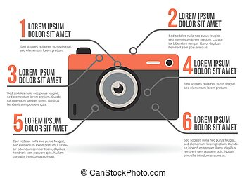 Photographic camera infographic, vector illustration