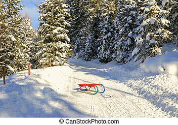 An old-styled Rodel (Toboggan) in red and blue on snowy path...