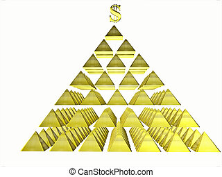 Alluring deceptive isolated pyramids topped by a golden...
