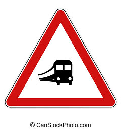 Traffic sign train - Traffic Road sign with train locomotive...