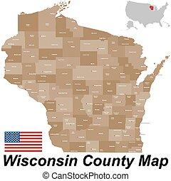 Wisconsin - A large and detailed map of the State of...