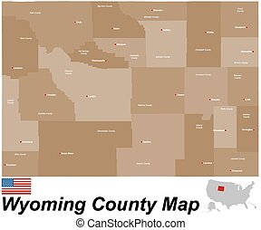 Wyoming county map - A large and detailed map of the State...