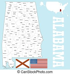 Alabama county map - A large and detailed map of the State...