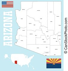 Arizona county map - A large and detailed map of the State...