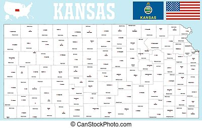 Kansas county map - A large and detailed map of the State of...