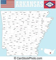Arkansas county map - A large and detailed map of the State...
