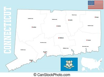 Connecticut county map - A large and detailed map of the...